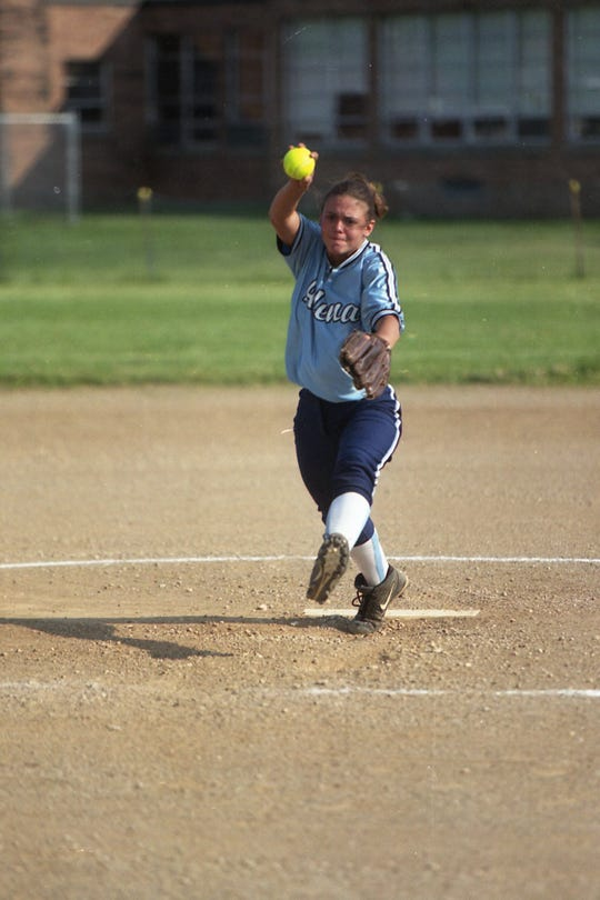 Sarah Wayland pitched a complete game when Adena defeated the Western Indians 18-0 in the Division III sectional championship in May 2000.