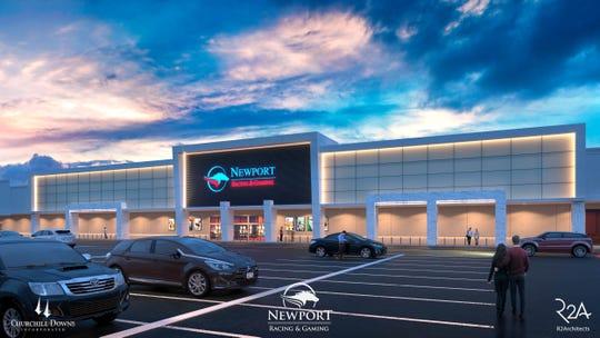 Render dari pusat Balap dan Permainan Newport yang direncanakan untuk Turfway Park Florence diresmikan pada Jumat, 1 Mei.
