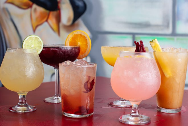 Drinks, including sangria and several varieties of margarita, from Papi Jocho's in Covington