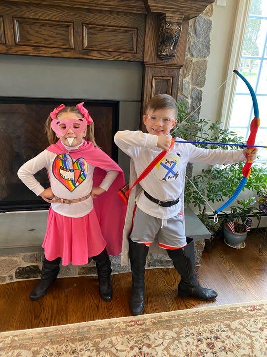 Kindergarten student, Victoria Bodajlo and her brother, grade two student Benjamin Bodajlo, dressed as ALT superheroes