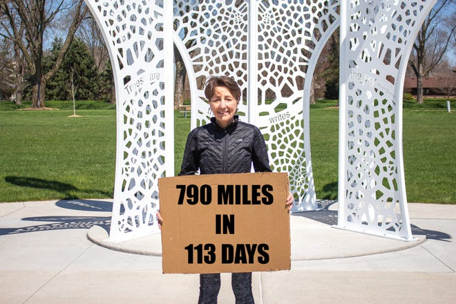 Johnston Mayor Paula Dierenfeld ran 790 miles between Dec. 31, 2019 and April 21, 2020 to earn donations of food or money to the Johnston Partnership.