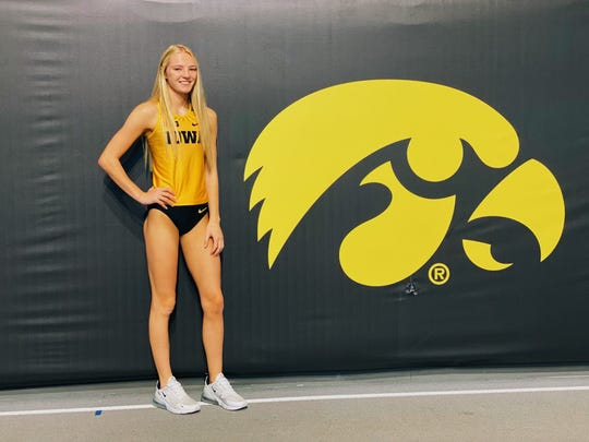 Ankeny Centennial hurdler Katie Petersen is here on her recruiting visit to the University of Iowa in October 2019. Petersen committed to the Hawekeys Oct. 22, 2019 to run with their track program.