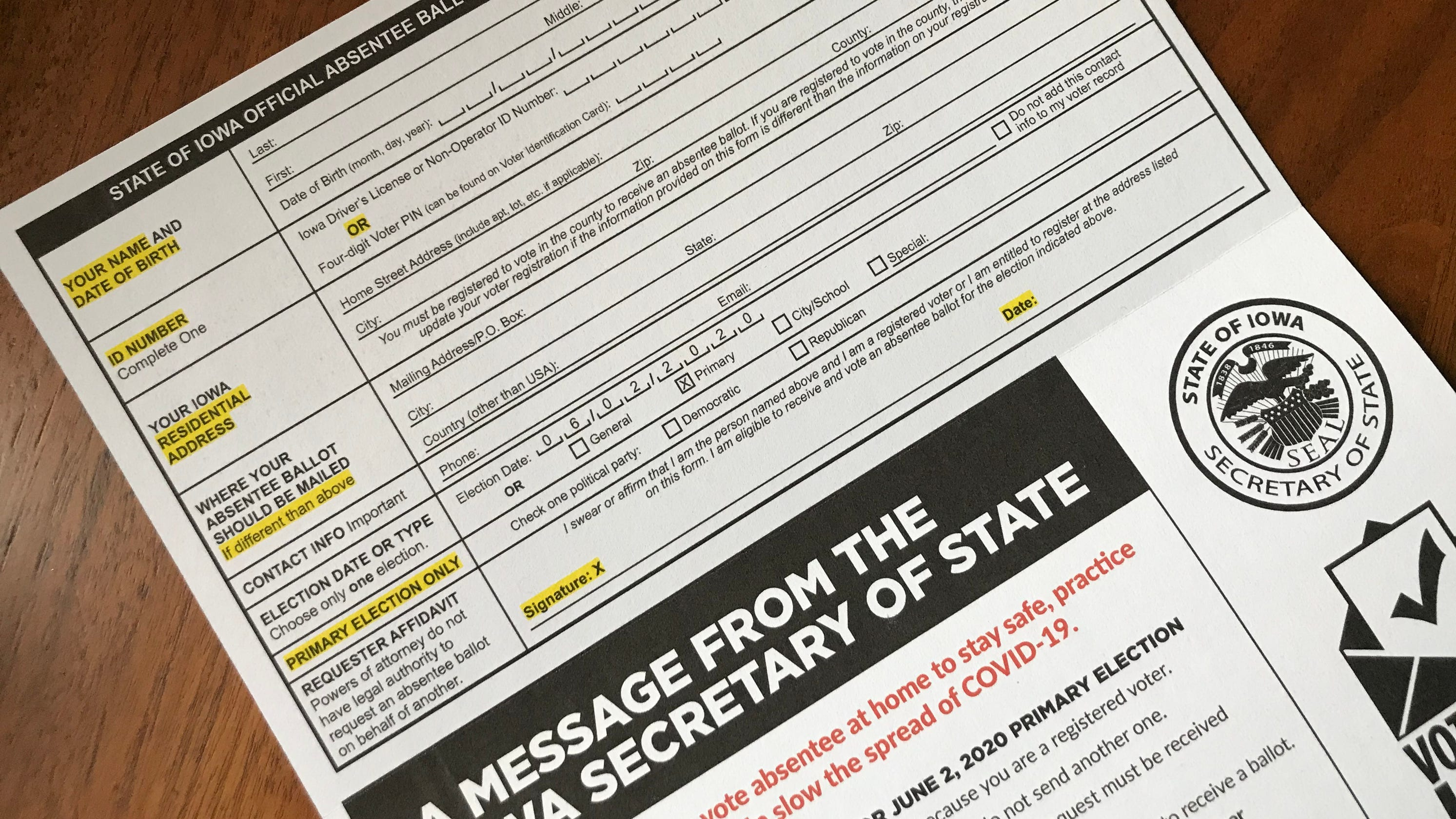 Expecting a surge of mail-in votes, Iowa will give counties a head-start on opening absentee ballots
