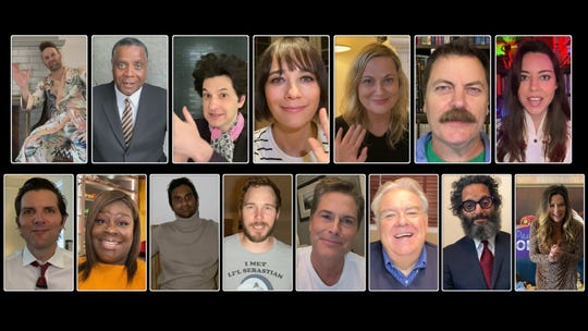 "NBC's ""Parks and Recreation Special"" featured (top left to right) Jon Glaser as Jeremy Jamm, Jay Jackson as Perd Hapley, Ben Schwartz as Jean-Ralphio Saperstein, Rashida Jones as Ann Perkins, Amy Poehler as Leslie Knope, Nick Offerman as Ron Swanson, Aubry Plaza as April Ludgate, Adam Scott as Ben Wyatt, Retta as Donna Meagle, Aziz Ansari as Tom Haverford, Chris Pratt as Andy Dwyer, Rob Lowe as Chris Traeger, Jim O'Heir as Garry Gergich, Jason Mantzoukas as Dennis Feinstein ."