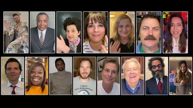 "NBC's ""Parks and Recreation Special"" featured (top left to right) Jon Glaser as Jeremy Jamm, Jay Jackson as Perd Hapley, Ben Schwartz as Jean-Ralphio Saperstein, Rashida Jones as Ann Perkins, Amy Poehler as Leslie Knope, Nick Offerman as Ron Swanson, Aubry Plaza as April Ludgate, Adam Scott as Ben Wyatt, Retta as Donna Meagle, Aziz Ansari as Tom Haverford, Chris Pratt as Andy Dwyer, Rob Lowe as Chris Traeger, Jim O'Heir as Garry Gergich, Jason Mantzoukas as Dennis Feinstein ."