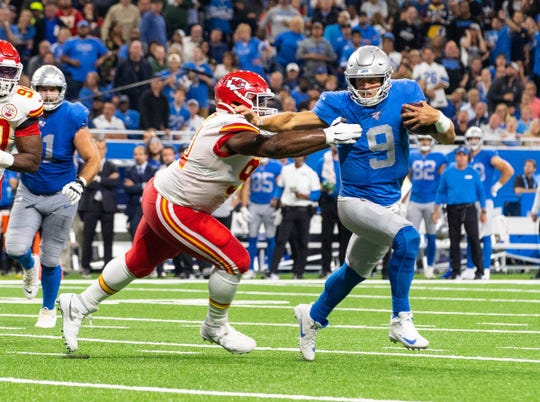 Detroit Lions quarterback Matthew Stafford carries the ball against the Kansas City Chiefs, at Ford Field, Sept. 29, 2019. The Chiefs defeated the Lions, 34-30.