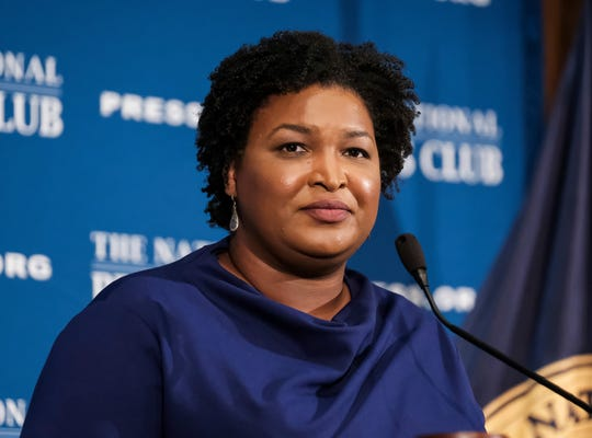 In this Nov. 15, 2019, file photo former Georgia House Democratic Leader Stacey Abrams, speaks at the National Press Club in Washington.