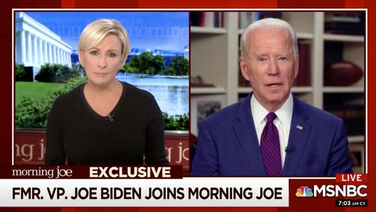 This video framegrab image from MSNBC's Morning Joe, shows Democratic presidential candidate former Vice President Joe Biden speaking to co-host Mika Brzezinski, Friday.