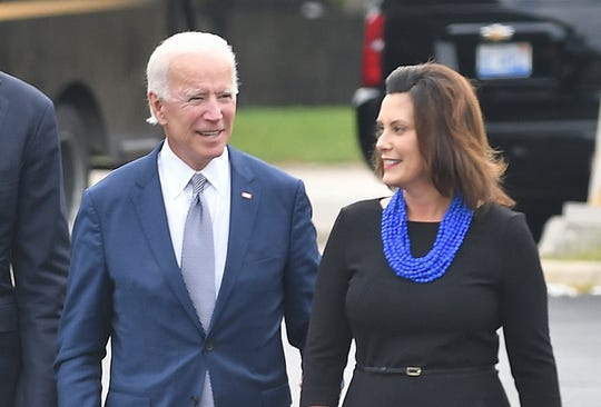 In this Sept. 12, 2018 file photo former Vice President Joe Biden and then-Michigan Democratic gubernatorial candidate Gretchen Whitmer arrive at Leo's Coney Island in Southfield, Mich.