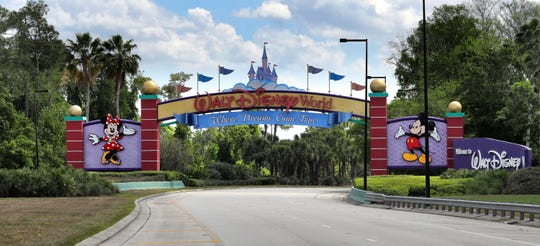 In this file photo, an empty entrance on Western Way as Walt Disney World enters its second week of being shut down in response to the coronavirus pandemic, photographed on March 24, 2020. The NBA is looking at using the ESPN Wide World of Sports Complex at Disney World as a possible venue to complete the season if conditions permit during the coronavirus pandemic.