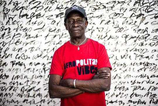 In this photo taken Wednesday, April 5, 2017, pioneering African drummer Tony Allen, whose influential career spanned decades and continents, poses for a portrait ahead of a concert with Senegalese musician Cheikh Lo in Dakar, Senegal.