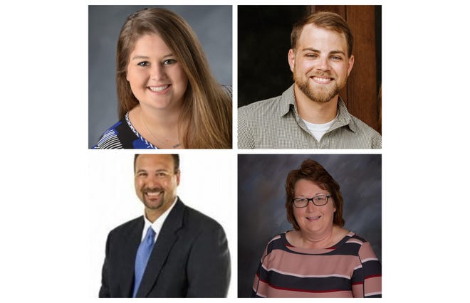 The 2020 Evansville-area Outstanding Educators of the Year are Kelsey Simmons, Noah Farmer, Chad Fetscher and Theresa Berendes.