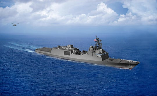 An artist's rendering of the future frigate that Fincantieri Marinette Marine will build for the U.S. Navy