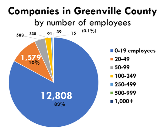 The vast majority of employers in Greenville County employ fewer than 20 people, according to data from the South Carolina Department of Employment and Workforce. Combined with those employing 20-49 people, these smallest of entities make up 93% of Greenville County's businesses. Also, companies with fewer than 50 people employ more than a third of the county's workforce (102,00 people).