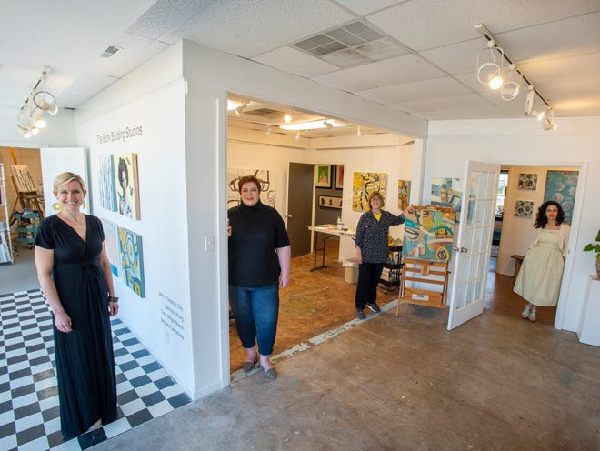 From left to right, artists Janina Tukarski Ellis, Traci Wright Martin, Patricia Kilburg and Barbara Casta–eda occupy The Bank Building Studios in the West Village of Greenville.