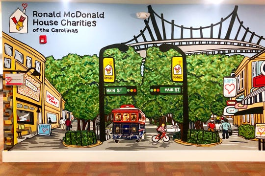 A mural by Lacey Hennesse at the Ronald McDonald House Charities of the Carolinas.