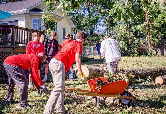 Greenville High baseball players, parents and coaches came to help Rick Richardson (Greenville High class of 1970) Friday, May 1, 2020, whose home and property were damaged by a recent tornado.