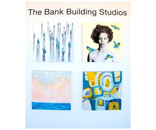 A wall in The Bank Building Studios displays the artwork of Janina Tukarski Ellis (top left), Traci Wright Martin (top right), Patricia Kilburg (bottom left) and Barbara Castañeda.