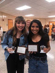 "2020 Bearden High School valedictorian Samaya Baljepally, right, celebrates being named ""Most LIkely to Succeed"" at Bearden with Abby Ann Ramsey, who was named Wittiest."