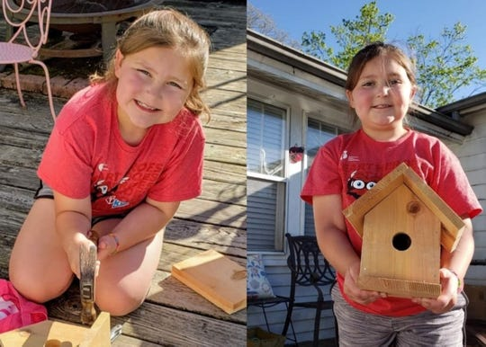 Amelia Tomb, 10, completes a Southern Grace Mercantile birdhouse kit with the help of her mom, Kathy Tomb, at her home in Karns, Thursday, April 16, 2020.