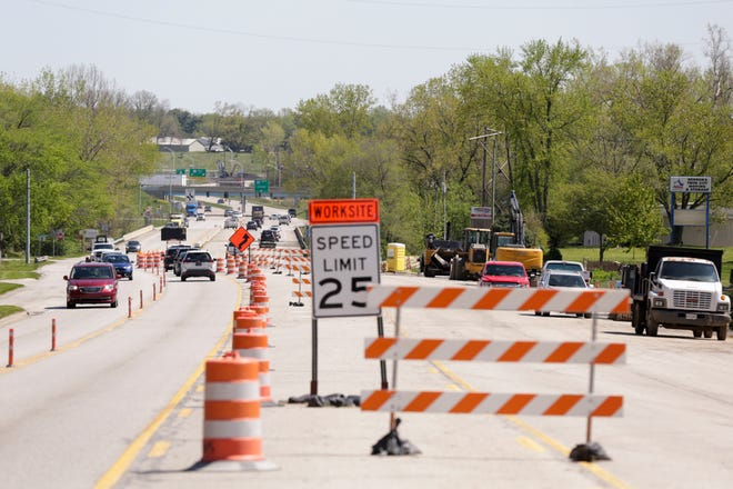 Traffic flows along a two-lane detour as construction continues on Schuyler Avenue, Friday, May 1, 2020 in Lafayette.