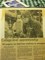 This is a newspaper clipping about Cindy Starck, who was among the first women in the tool and dye field at GE.