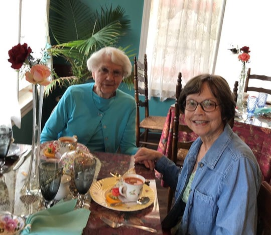 Judy Pessolano and her mother, Joyce White, at a Mother's Day tea in 2018.