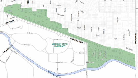 Areas shaded in green are part of East Lansing's Downtown Development Authority district.