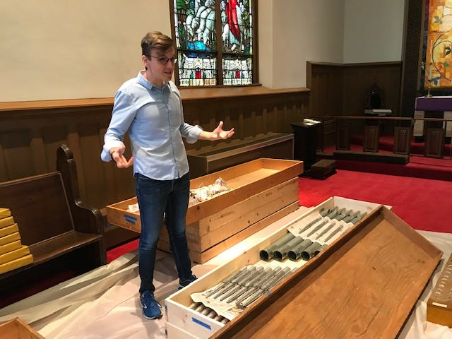 Grace Episcopal Church organist Nathaniel Powell, 26, said the organ is being taken apart piece by piece, cleaned and put back together by professionals following the vandalism in early April. Fire extinguishers were set off, damaging 19,000 square feet of the building.