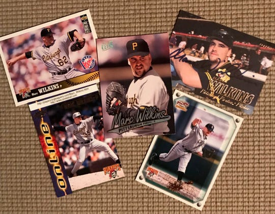 Some of the baseball cards featuring 1989 Ontario High grad Marc Wilkins during his six years with the Pittsburgh Pirates