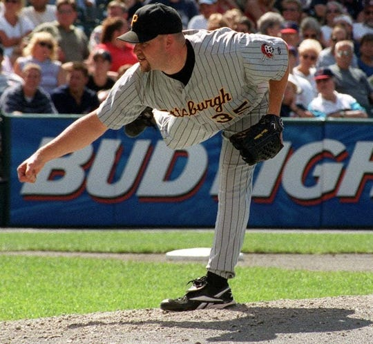 Ontario High grad Marc Wilkins, a relief pitcher for the Pittsburgh Pirates from 1996-2001, pitches against the Cleveland Indians in a game at then-Jacobs Field.