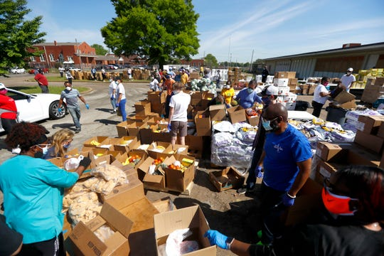 Women's Foundation for a Greater Memphis works with volunteers to help distribute food, sanitizer and supplies to hundreds of families in need in South City on Friday, May 1, 2020.