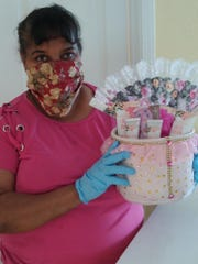 Develon Diggins, who runs Delight Thyself Gift Shop, is volunteering to make gift baskets for the Mother's Day giveaway.