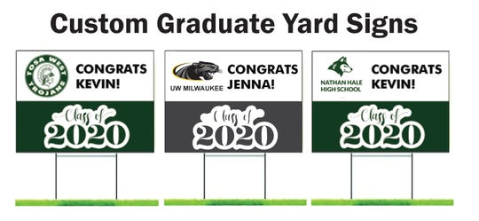Graphics of what Class of 2020 yard signs look like that are available for sale at West Allis Blueprint.
