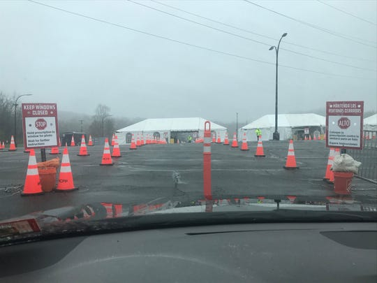 The entry to the COVID-19 testing site at the County College of Morris in Randolph. May 1, 2020.