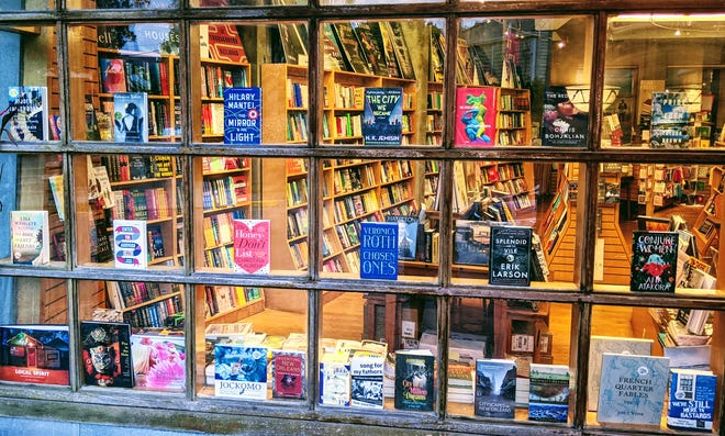 At Octavia Books in New Orleans, customers can only browse through the window due to the coronavirus pandemic. (Courtesy Octavia Books)