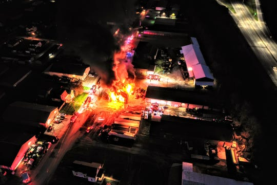 Drone footage shows a fire at a commercial warehouse structure Thursday night on McKinley Avenue in Newark
