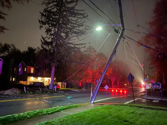A downed tree took down power lines on Midland Avenue in River Edge on Thursday, April 30, 2020.