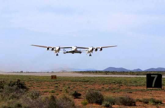 SpaceShipTwo Unity takes to the skies for its first glide flight from New Mexico on Friday, May 1, 2020. Virgin Galactic's spaceship VSS Unity has landed in the New Mexico desert after its first glide flight from Spaceport America. The company announced Friday's flight on social media, sharing photos of the spaceship.