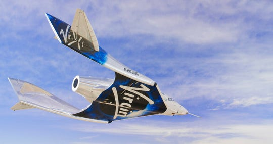 Virgin Galactic SpaceshipTwo Unity flys free in the New Mexico Airspace for the first time on Friday, May 1, 2020. Virgin Galactic's spaceship VSS Unity has landed in the New Mexico desert after its first glide flight from Spaceport America. The company announced Friday's flight on social media, sharing photos of the spaceship.