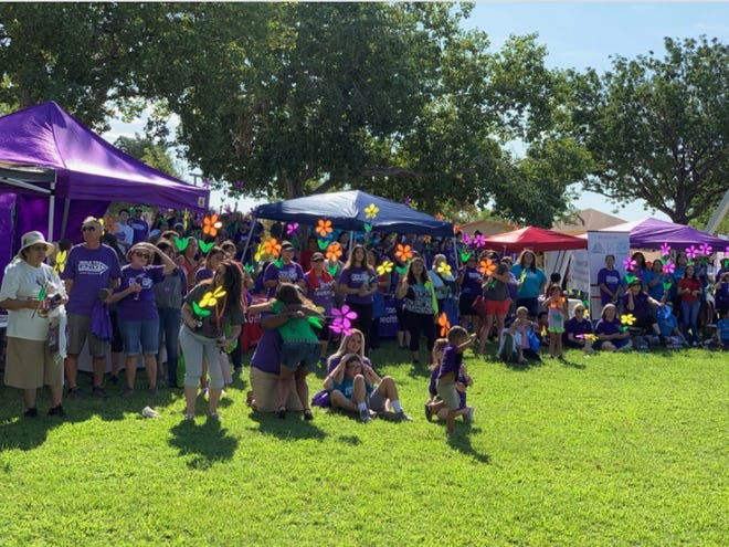 Participants gather at the Walk to End Alzheimer's in 2019.