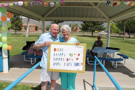 Don Cook and his girlfriend Shirley Hubert at Cook's 90th birthday celebration.