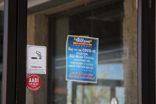 The Allen Theater cinema at 1819 E. 20th St. in Farmington sits empty on May 1, 2020, because of the COVID-19 pandemic.