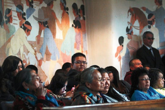 Members of the public watch the fall session for the Navajo Nation Council on Oct. 20, 2014 inside the council chamber in Window Rock, Arizona.