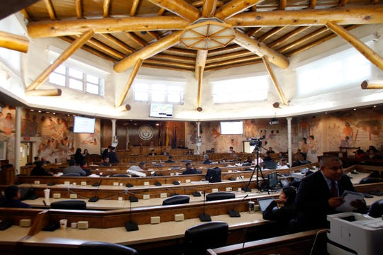 The fall session for Navajo Nation Council is pictured on Oct. 19, 2015 inside the council chamber in Window Rock, Ariz.