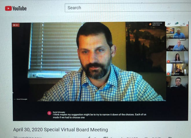 Daniel Schwegler discusses superintendent finalists in a South Lyon School Board virtual meeting on Thursday, April 30, 2020.