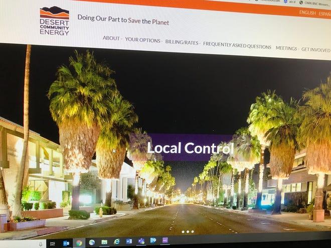 The homepage of the Desert Community Energy website.