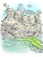 From left, boxer Roy Jones Jr., running back Emmitt Smith, offensive lineman Josh Sitton and defensive lineman Fred Robbins adorn after winning the Pensacola Sports Mount Rushmore readers' poll via PNJ Sports. Andy Marlette's cartoon commemorates Pensacola's athletic legacy amid the COVID-19 pandemic.