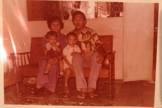 Bobby Pin, front right at age 3, was originally from Cambodia. He's pictured here with his sister, Mai, left and parents, Vin and Loeuy Pin. Bobby died on April 18 from COVID-19 in Hawaii and was a beloved member of the Burning Man community.