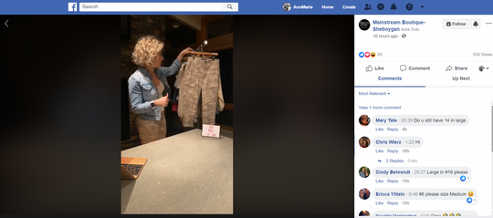 Dana Dunton, owner of Mainstream Boutique in Sheboygan, does Facebook live videos while her store is closed under Gov. Tony Evers' safer-at-home order to keep customers connected to merchandise.